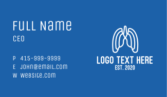 White Abstract Respiratory Lungs Business Card