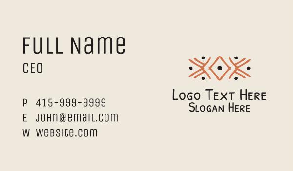 tradition - Orange Tribal Detail Business card horizontal design