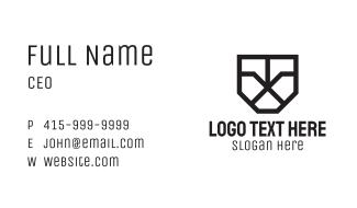 Geometric Shield Letter X Business Card