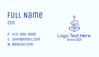 Minimalist Fish Anchor Business Card