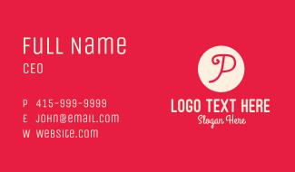Pink Handwritten Letter P Business Card