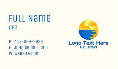 Aqua Beach Sunset Business Card