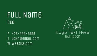 Outdoor Mountain Line art Business Card