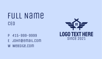 Realty House Wings Letter A Business Card