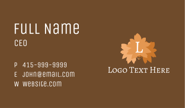 Autumn Leaves Letter Business Card