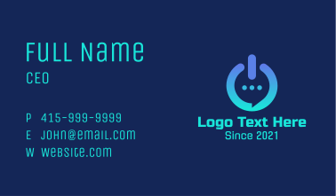 Power Button Chat Business Card