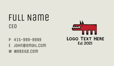 Angry Dog Cave Painting Business Card