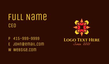 Festive Poinsettia Lantern Business Card