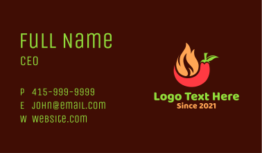 Flaming Chili Pepper Business Card