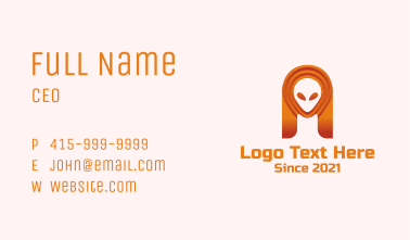 Orange Alien Galaxy  Business Card