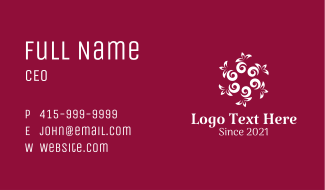 White Floral Pattern Business Card