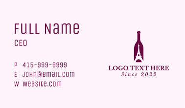 Bottle Eiffel Tower Business Card