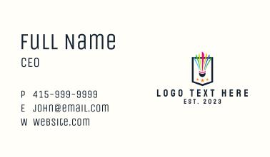 Colorful Shuttlecock Emblem Business Card