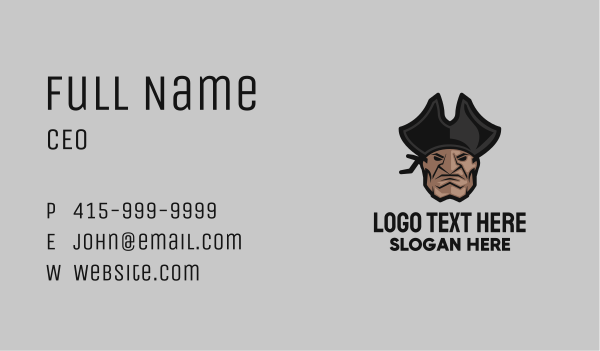 avatar - Angry Pirate Head Business card horizontal design