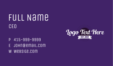 Retro Tropical Wordmark Business Card