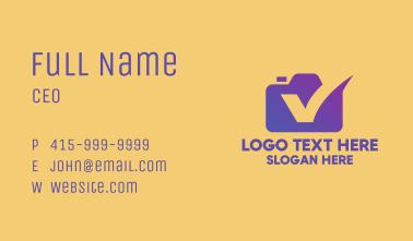 Purple Camera Letter V Business Card