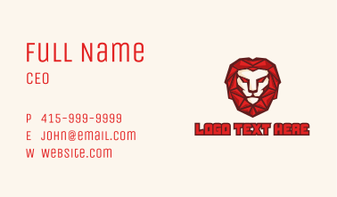 Red Lion Geometric Mascot Business Card