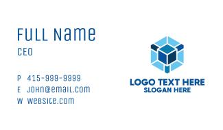 Blue Cube Hexagon Business Card