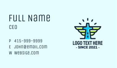 Cross Tower Wings Business Card