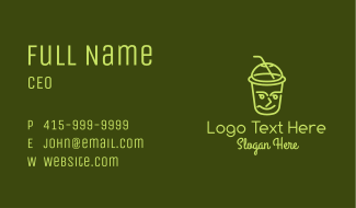 Smiling Face Drinking Cup Business Card