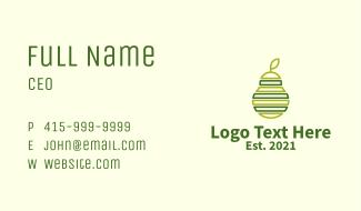 Green Outline Avocado  Business Card