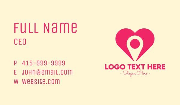 gps location - Pink Heart GPS Business card horizontal design