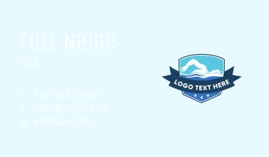 Swimming Tournament Emblem  Business Card