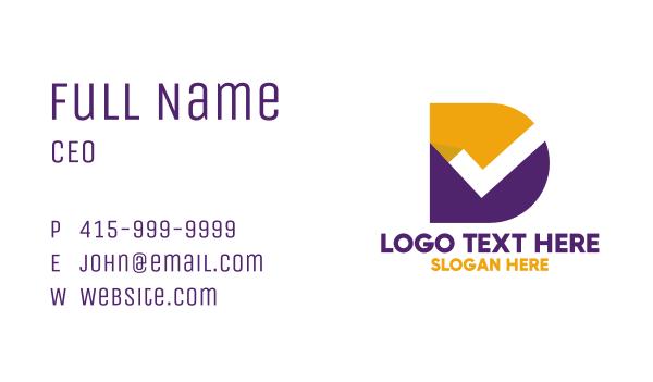 verify - Minimalist Check Letter D Business card horizontal design