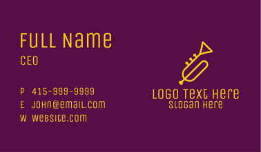 Yellow Minimalist Trumpet Business Card