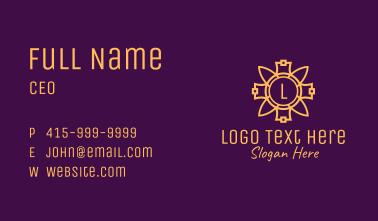Gold Flower Ornament Letter Business Card