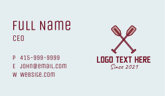 Wood Canoe Paddle  Business Card