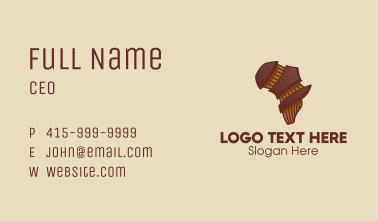 Brown Musical African Map  Business Card