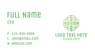 Green Floral Cross Business Card