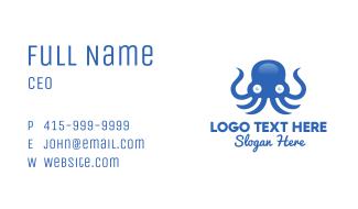 Blue Octopus Mascot Business Card