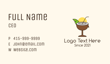 Tropical Coconut Drink Business Card