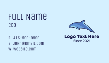 Swimming Blue Dolphin Business Card