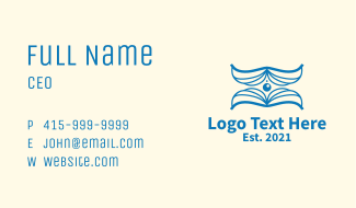 Blue Learning Book Business Card
