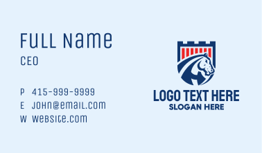 Bronco Horse Turret Shield  Business Card