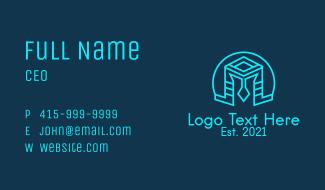 Blue Outline Helmet Business Card