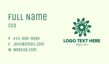 Decorative Green Leaf Business Card