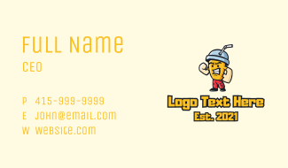 Buff Milkshake Mascot Business Card