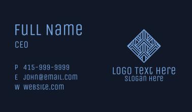 Blue Geometric Tile Hotel Business Card
