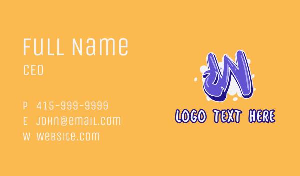 vape shop - Blockbuster Graffiti Letter W Business card horizontal design