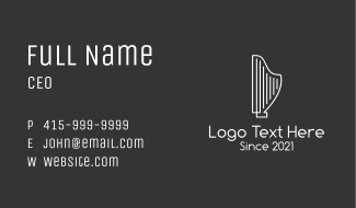 Minimalist Musical Harp Business Card