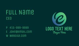 Green Gradient Cursive Letter E Business Card