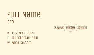 Cowboy Sheriff Wordmark Business Card