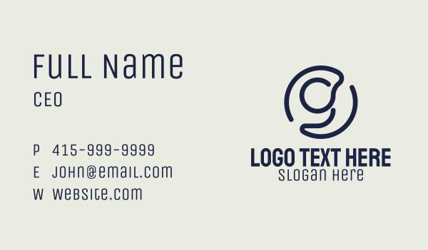 school supplies - Blue Letter G Monoline Business card horizontal design