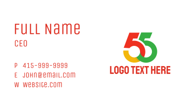 Colorful Number 55 Business Card