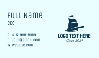 Pirate Ship Knife Business Card