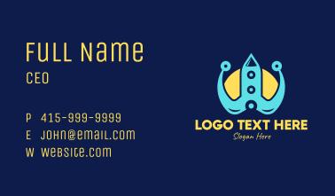 Blue Tech Rocket Business Card